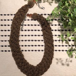 LOFT brown beaded/braided necklace